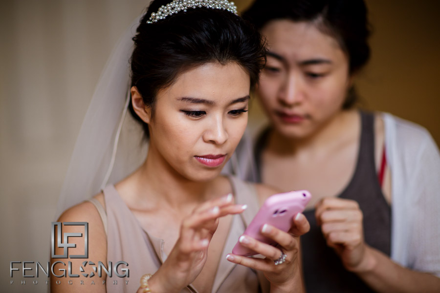 Chinese bride gets ready for wedding