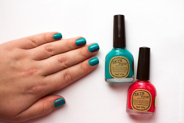 04 Skin Food nail Vita red RE108 blue BL514 Ann Sokolova swatches