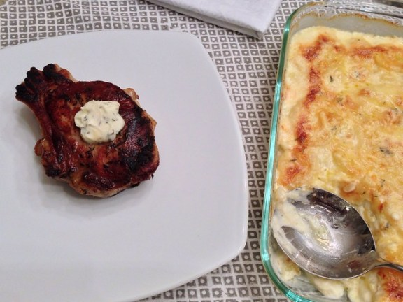 Veal Chops with Rosemary Butter and Potato Gratin