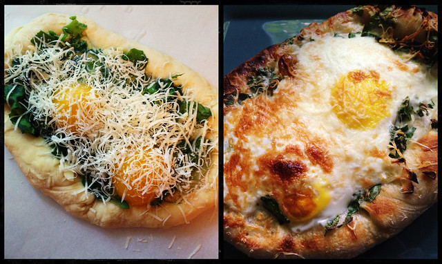 Breakfast Pizza - before, after