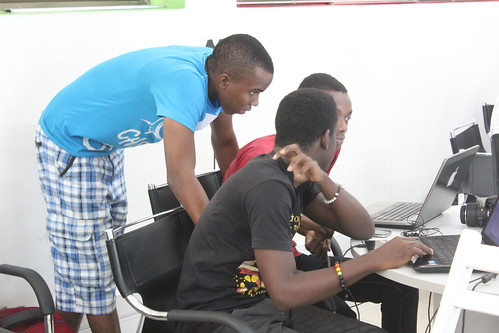 Participants having a discussion during the training