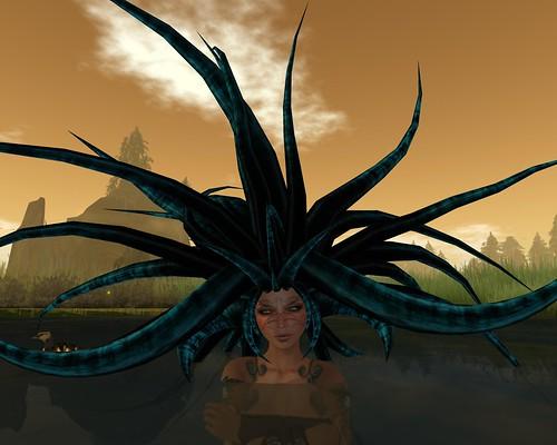 Helena's hair. Who else's?