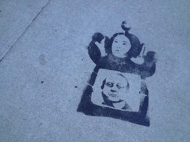 Teletubbies sidewalk stencil