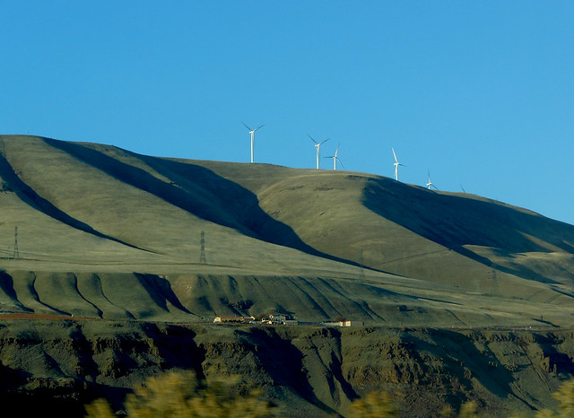 Wind turbines along the Columbia River Gorge.