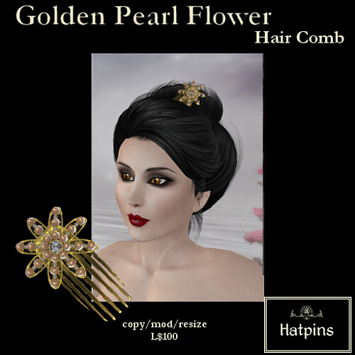 Hatpins - Golden Pearl Flower Hair Comb