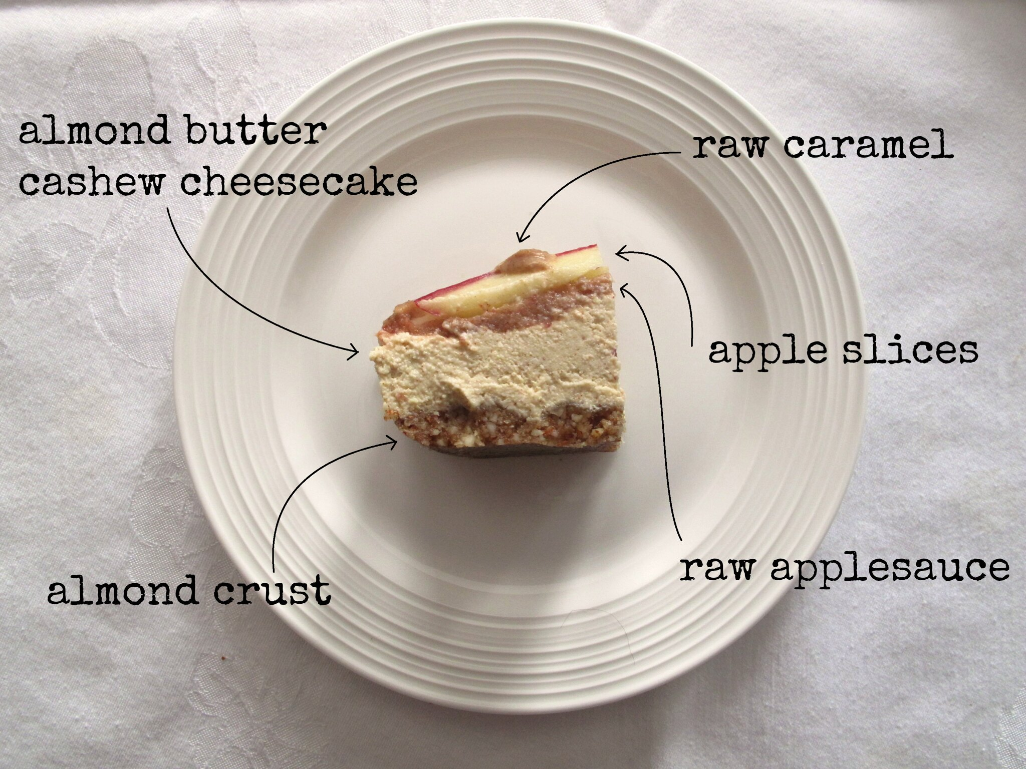 raw almond butter and caramel apple cheesecake
