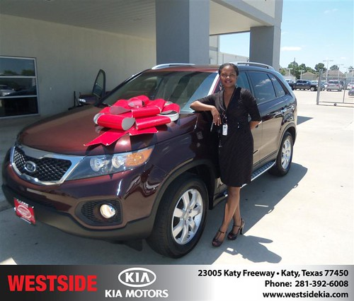 Westside Kia would like to say Congratulations to Shenette Prevo on the 2012 Kia Sorento from Gilbert Guzman by Westside KIA