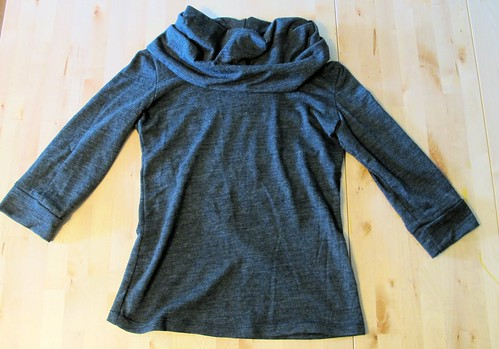 Renfrew top made with wool knit from Mood Fabrics