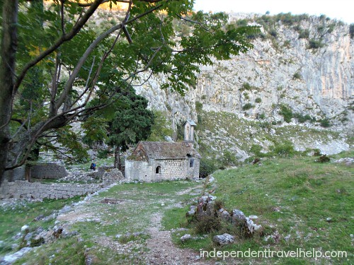 Abandoned house on mountain in Kotor