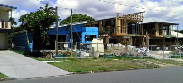 Three houses are going up on one block at Mayne Avenue, Wavell Heights.