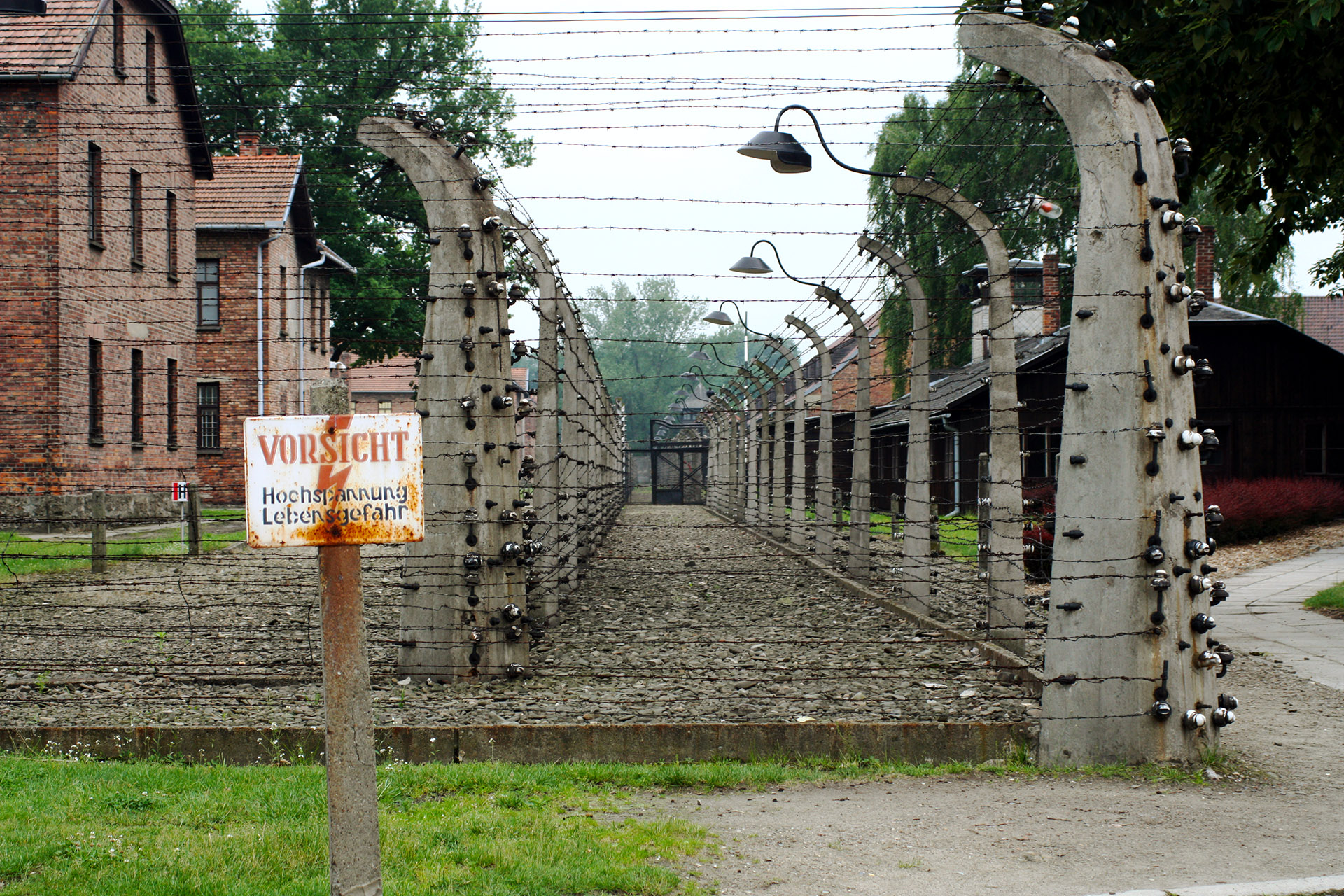 An example of the guard walkways at Auschwitz I.