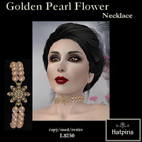 Hatpins - Golden Pearl Flower Necklace