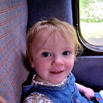 Bobbie loving a steam train