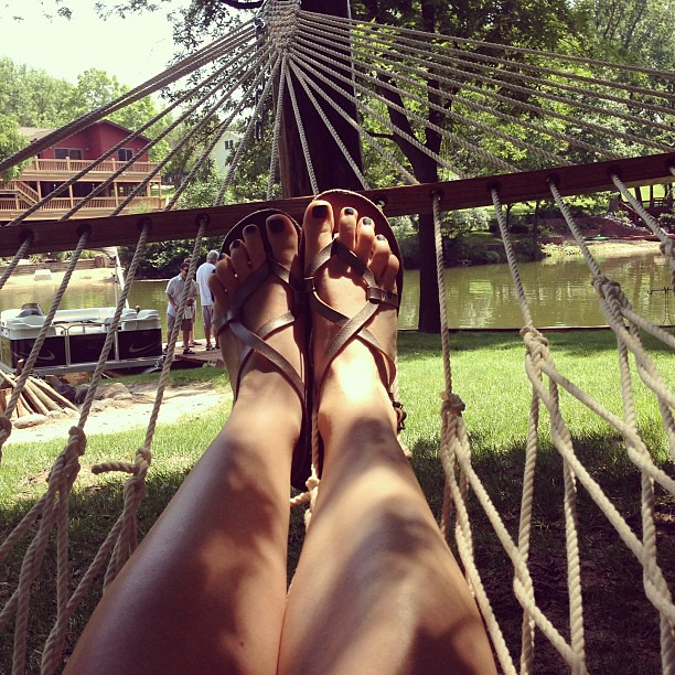 Earlier, in the hammock.