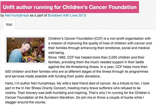 GIVEAsia | Unfit author running for Children's Cancer Foundation