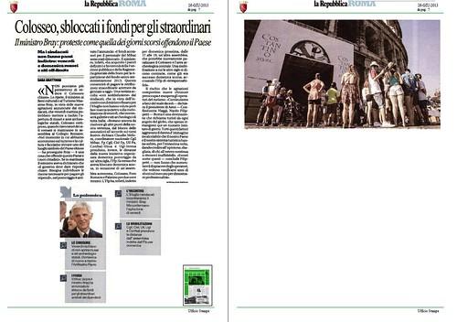 ROMA ARCHEOLOGIA e BENI CULTURALI: chiurura del Colosseo - Colosseo, sbloccocati i fondi per gli straodinari, LA REPUBBLICA (26/06/2013), p. 7. by Martin G. Conde