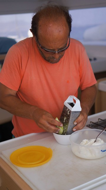 Vassilis making tzatziki