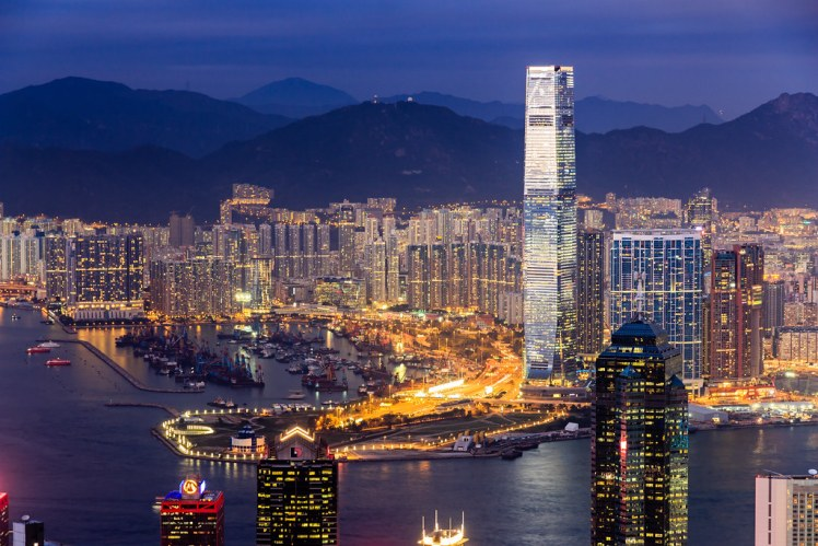 A newcomer to the Hong Kong skyline - the highest hotel in the world (Ritz-Carlton)