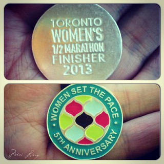 Close up of the Toronto Women's half marathon finisher's necklace
