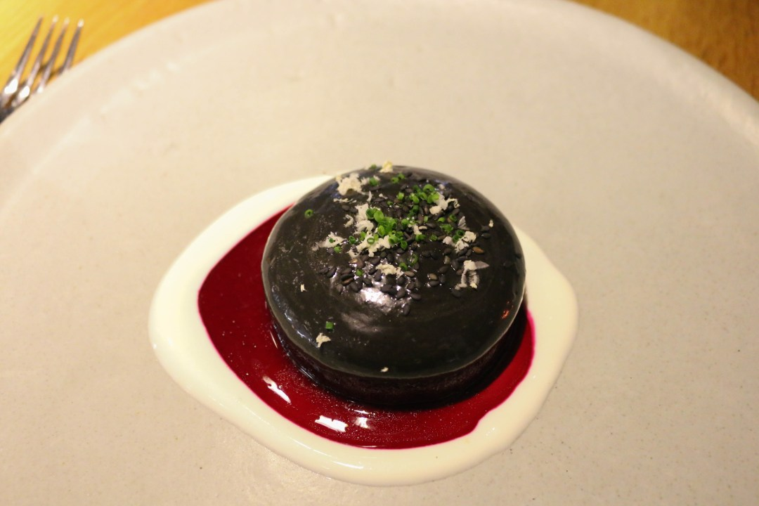 Beetroot, black sesame sauce and goat's cheese