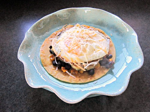 Caramelized Corn & Black Bean Huevos Rancheros with Roasted Zucchini Salsa (3)