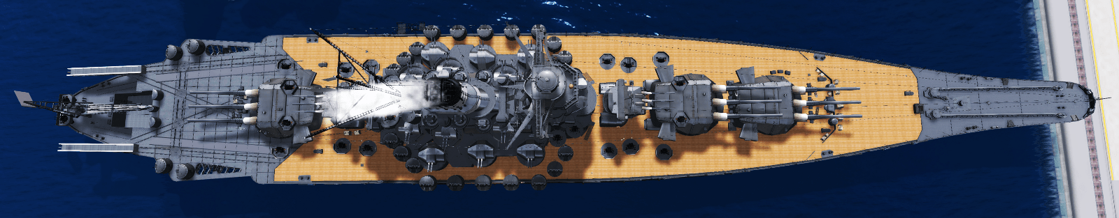 An aerial view of the battleship in SL