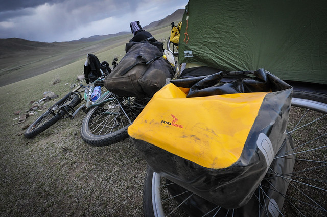 Crosso Dry panniers on an Extrawheel in Mongolia 3