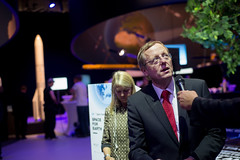 Jan Woerner at the 'Space for Earth' pavilion at ILA