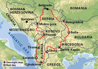 Adriatic MotoTours Intriguing Southeast Europe Tour Map