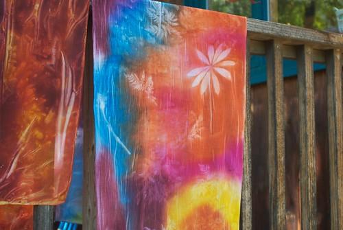 sunprinted scarves