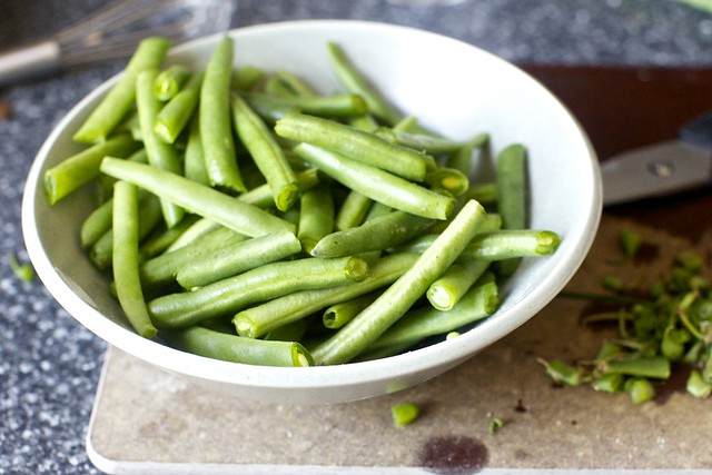 trim and halve green beans (I use kitchen shears)