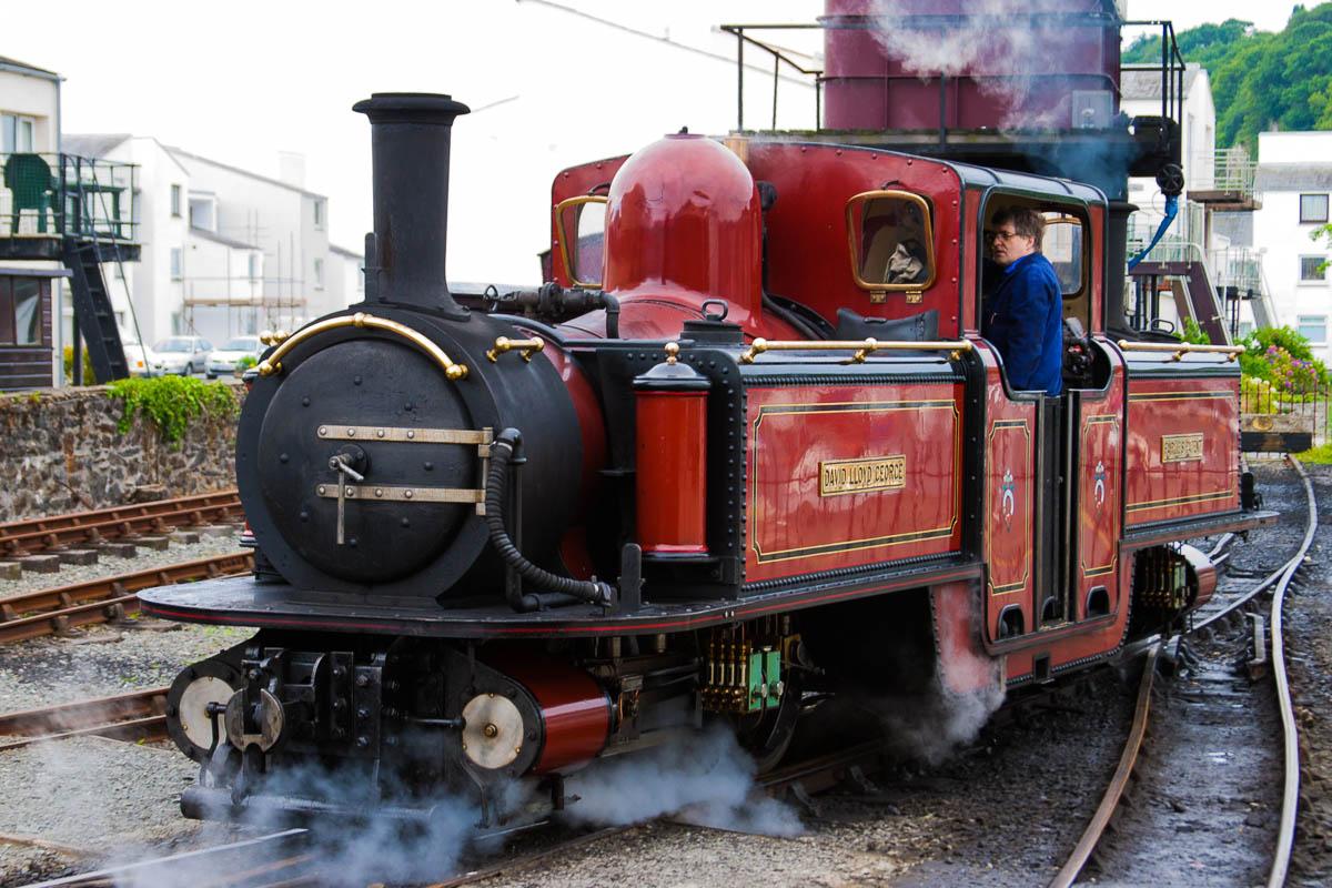 Locomotora de vapor en Porthmadog