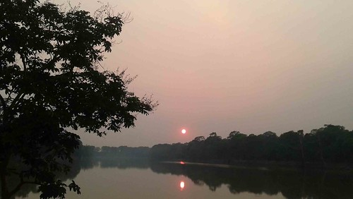 Sunset on the lake near Angkor Wat