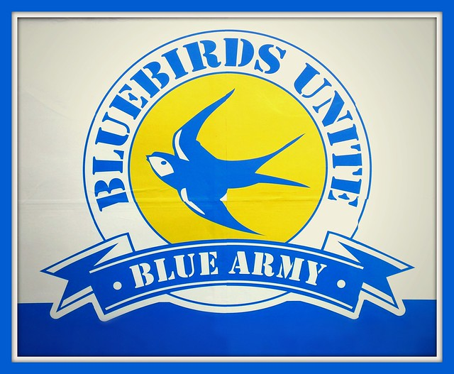 Bluebirds Unite poster at Leckwith Road, Cardiff