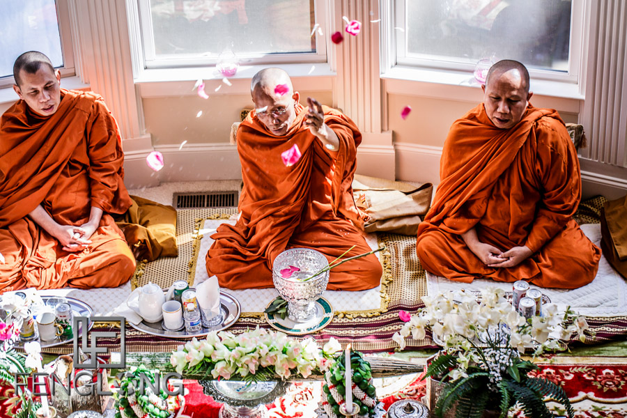 Buddhist monks bless the newlyweds during Cambodian wedding