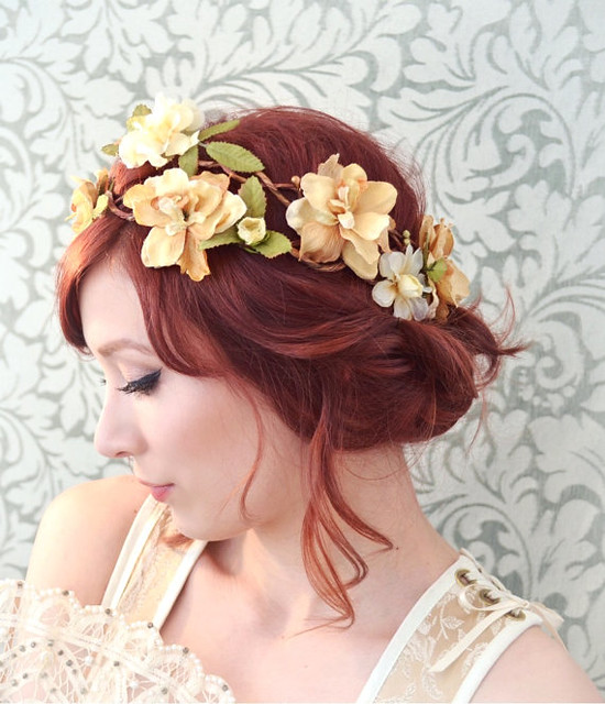 Wedding Floral Crown Rustic Bridal Hair Piece Golden