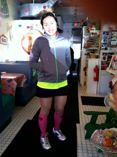 Post Hook Half...in hot pink socks!