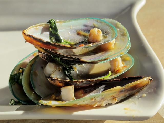 Lao Wok Roasted Mussel shells in sunlight