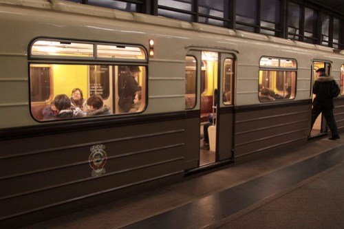 State Emblem of the Soviet Union (featuring hammer and sickle) on a replica-1934 Moscow Metro train