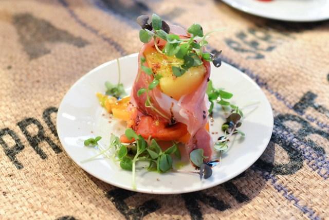 Pedaler's Fork compressed yellow watermelon, heirloom tomato, buratta, speck; flourless chocolate crunch bar