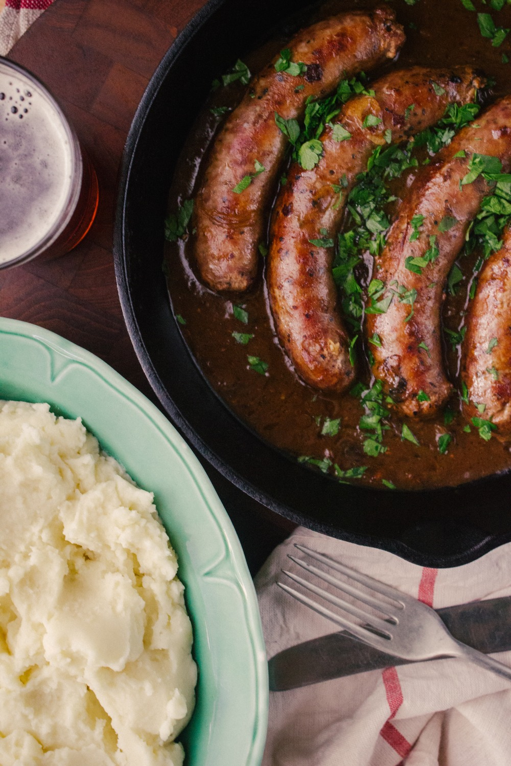 Bangers and Mash with Beer and Onion Gravy | Simple Provisions