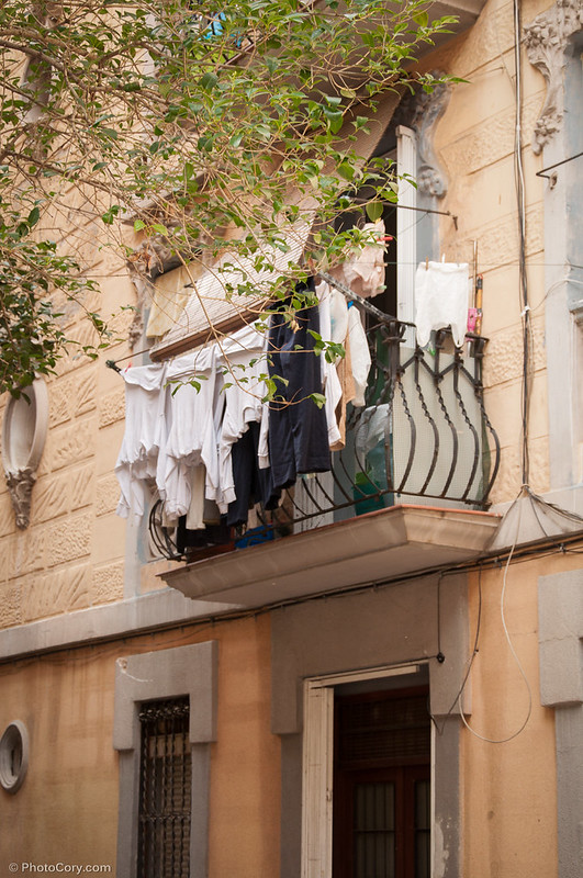 Balcony with laundry in Barcelona