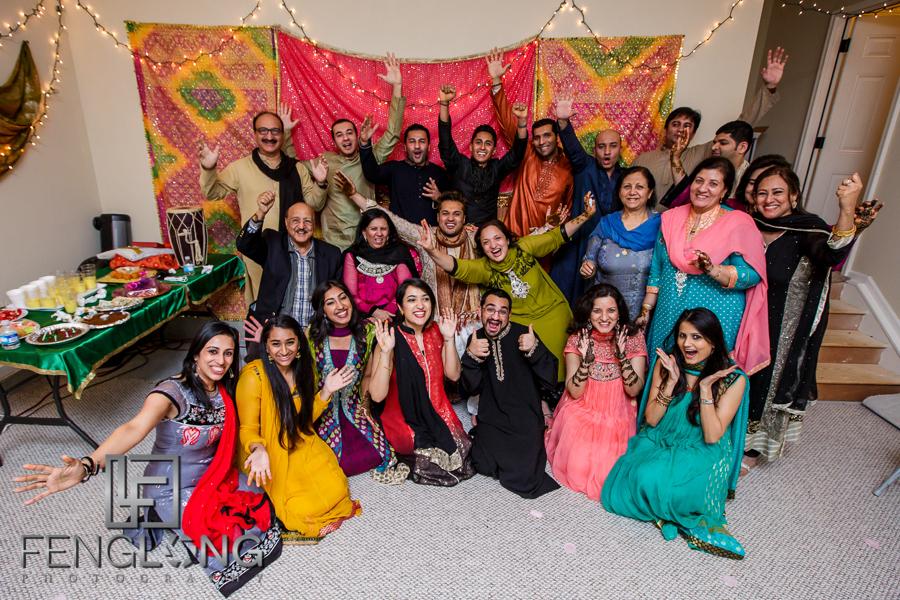Group photo of Groom's side on Mehndi night