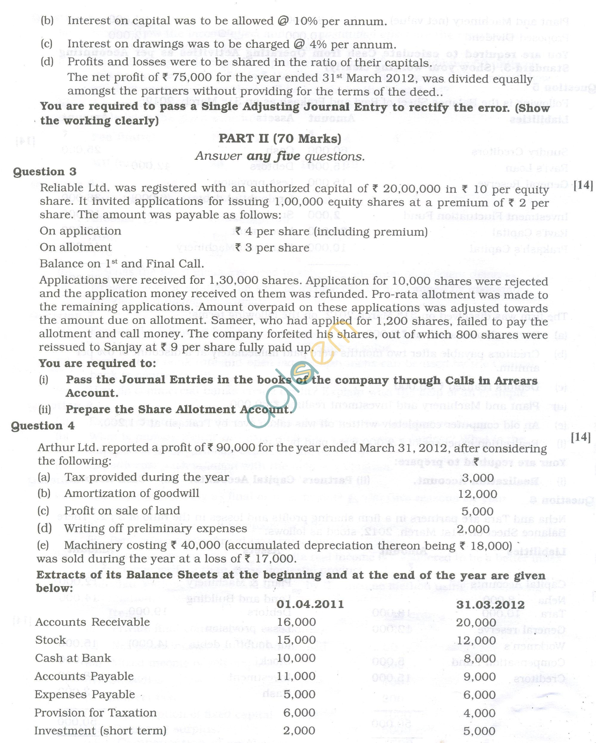 Cbse Question Papers For Class 12 Accountancy