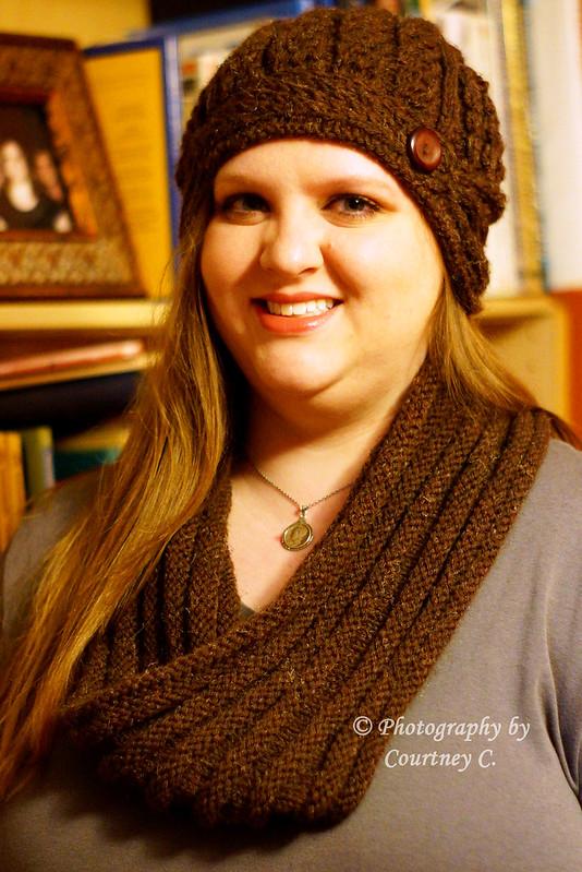 Mink Knitted Helmet Hat & Passenger Cowl
