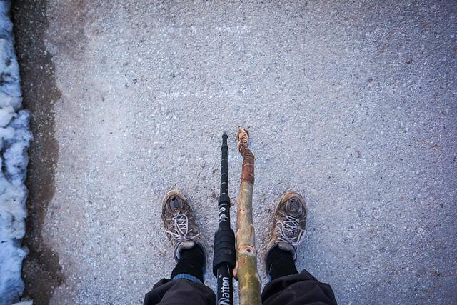 Makeshift trekking pole