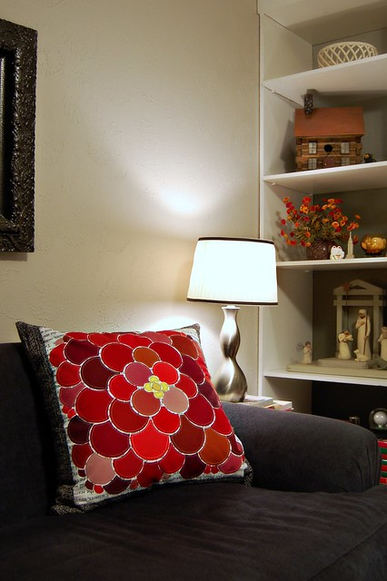 Red Flower Couch Pillow