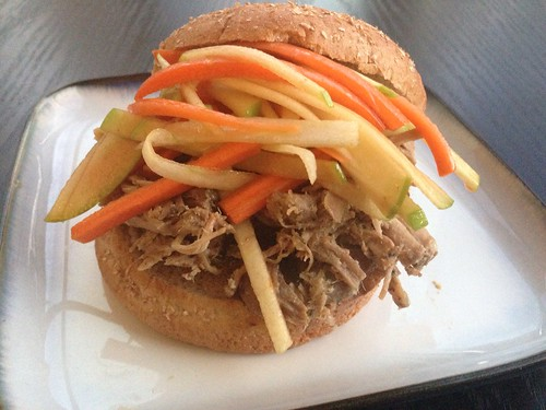 Pulled pork with apple carrot slaw on twothirtyate.com