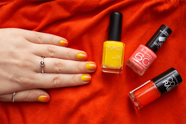03 gradient nails kiko 279 yellow + rimmel instyle coral + colorama 155