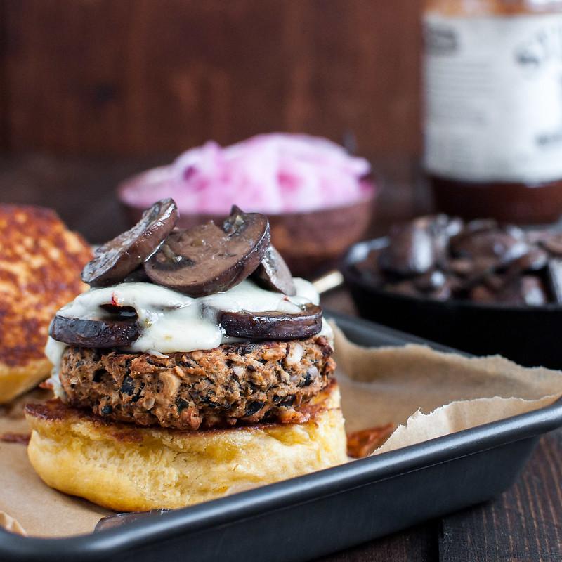 The ultimate tex-mex BBQ black bean veggie burger (gluten-free/vegan option)